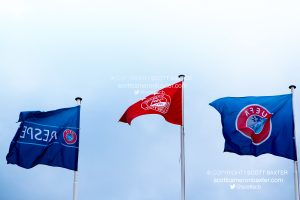 Flags at Pittodrie Stadium.