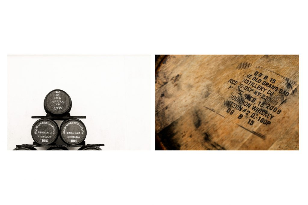 Commercial Photography Aberdeen, Scotland, United Kingdom, Whisky, Whiskey Distillery with barrels and cask tops