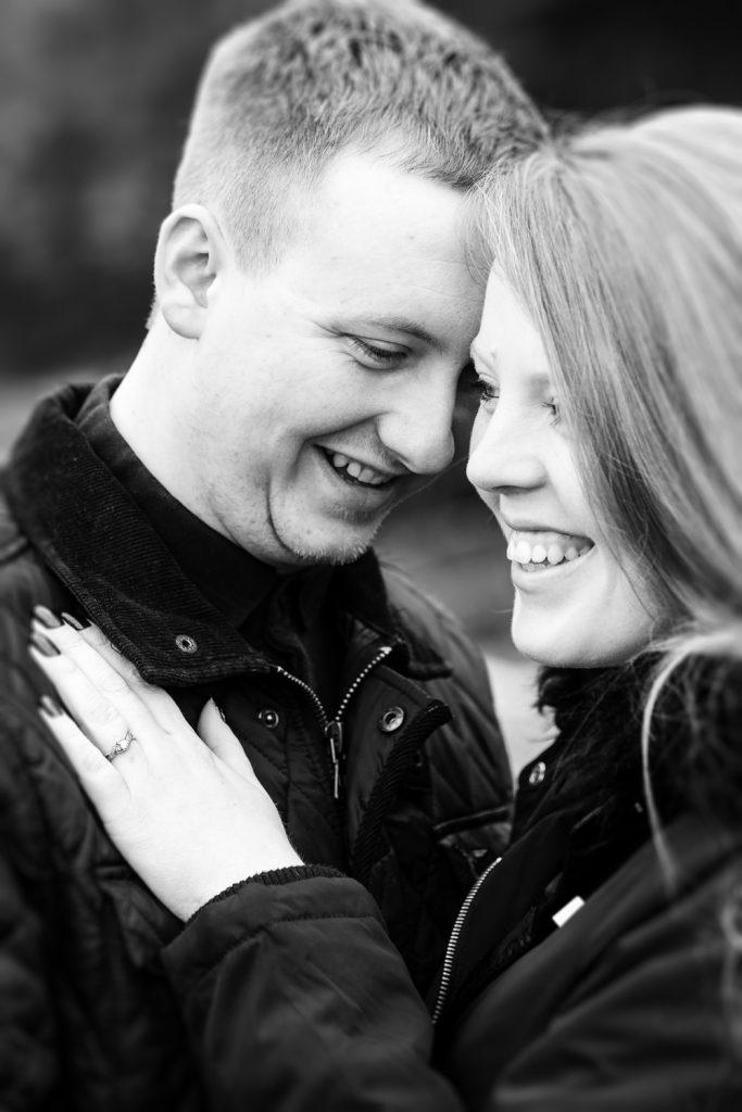 Couple during engagement photoshoot