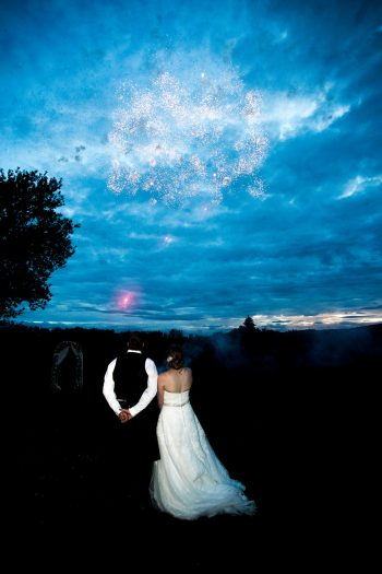 Fireworks at wedding day
