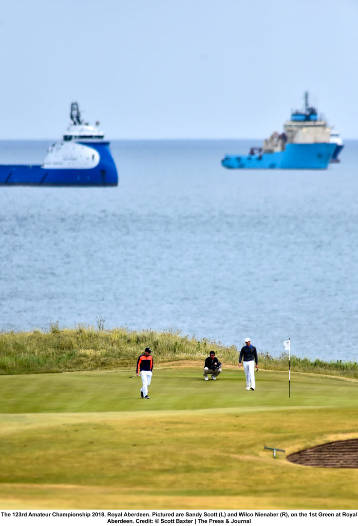 Sports Photography: Golfers Sandy Scott (L) and Wilco Nienaber (R), on the 1st Green at Royal Aberdeen. Taken by Scott Baxter
