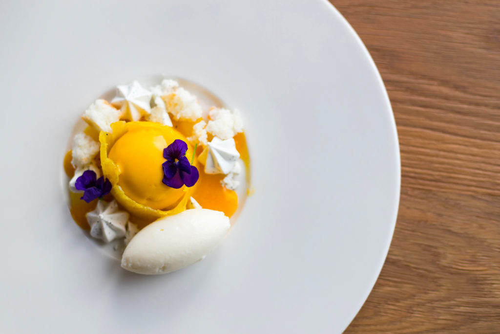 A top down photo a dessert of Ice cream and mango puree