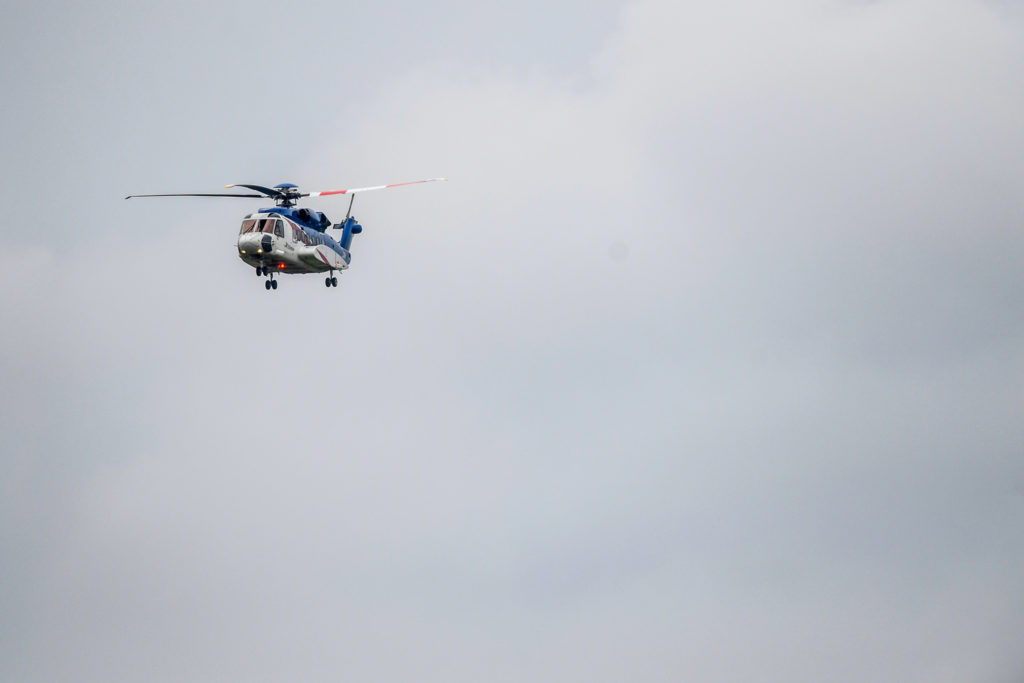 Offshore Helicopter comes into land at Aberdeen Airport