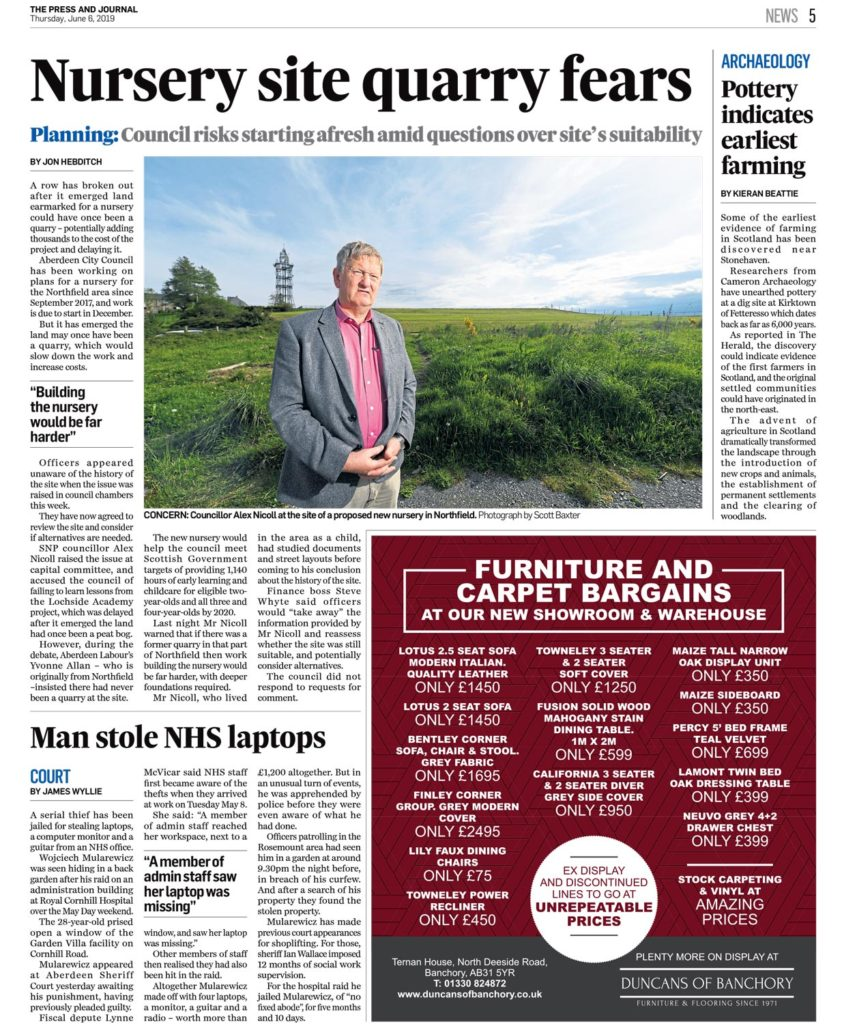 SNP councillor poses for a photo in the press and journal on a sunny day at a site of concern which used to be a quarry in Aberdeen