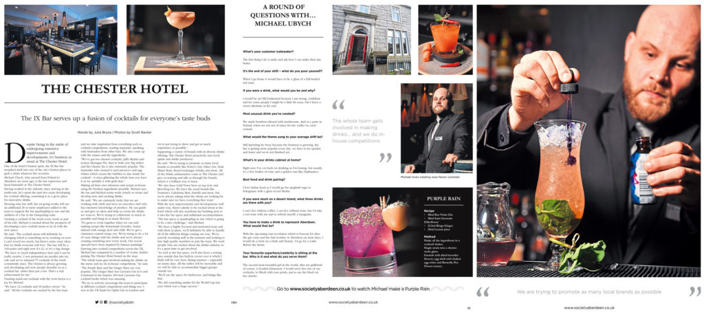 A selection of images from the Chester Hotel for a magazine feature, with a barman and various cocktails.
