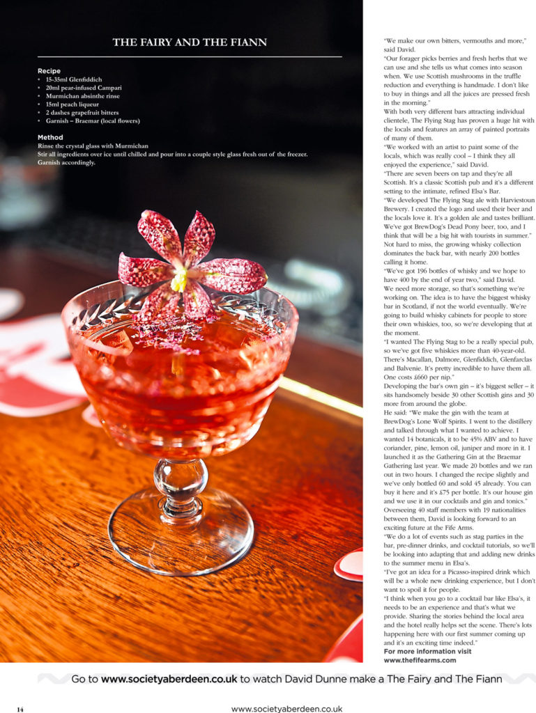 Food and Drink Photography - A cocktail made from the Fife Arms Hotel in Braemar, Aberdeenshire. Red with petals floating on top.