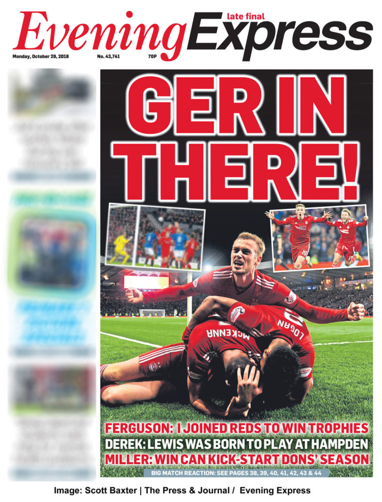 Front page of the Evening Express Newspaper shows aberdeen fc player celebrating beating Rangers FC