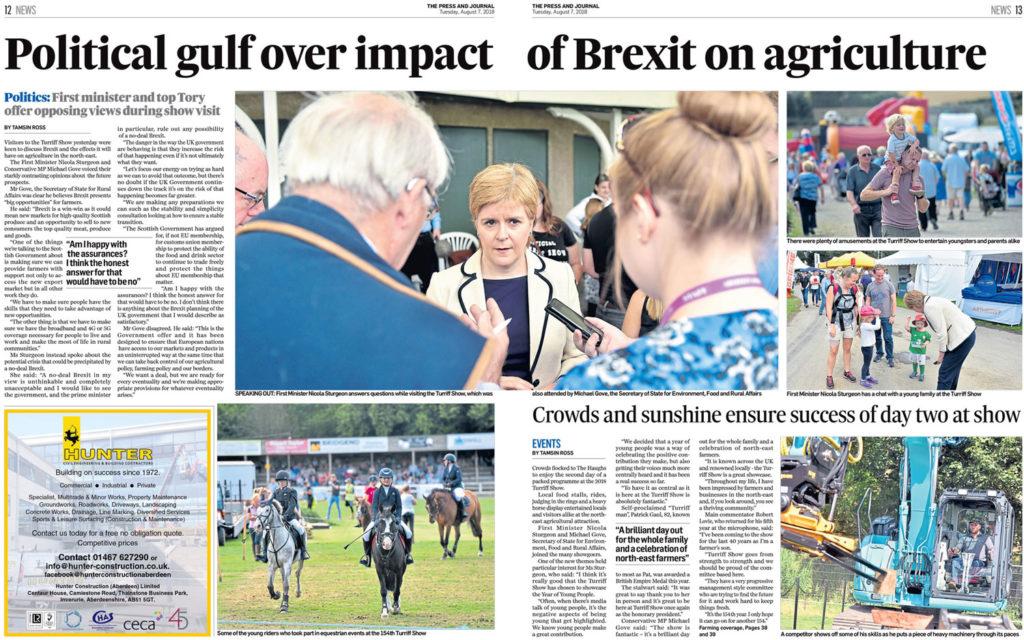 Nicola Sturgeon talks with the press at a scotch Lamb event in Turriff.