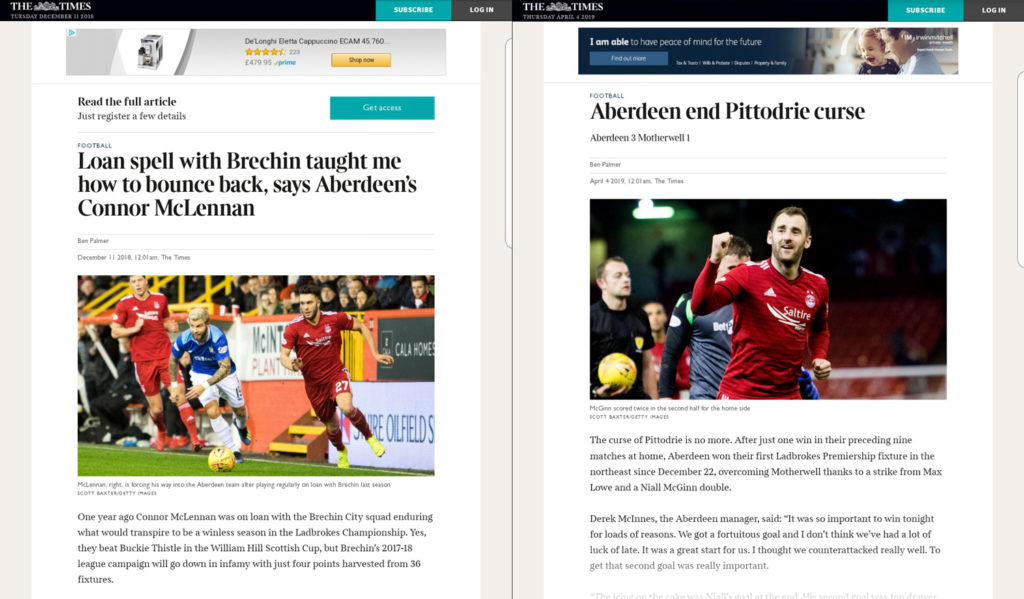 Tearsheets from The Times Newspaper shows Aberdeen FC players celebrating. Pictures by Scott Baxter getty Images
