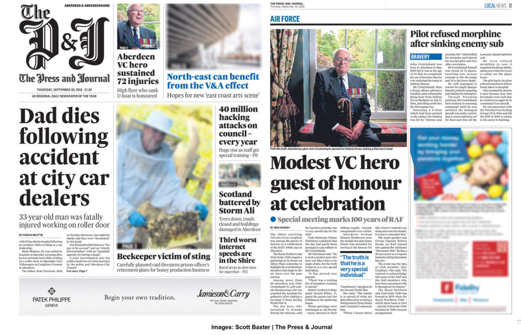 Press Feature showing John Cruickshank VC, In the Press and Journal Newspaper