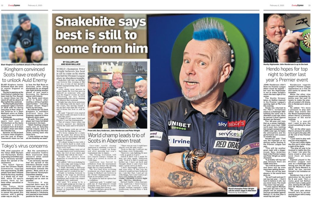 A press cutting of Premier League Darts players posing for a photoshoot for the upcoming event at Aberdeens TECA. Show players holding their darts into the lens and one player with his arms crossed with Blue hair for an upright photograph.