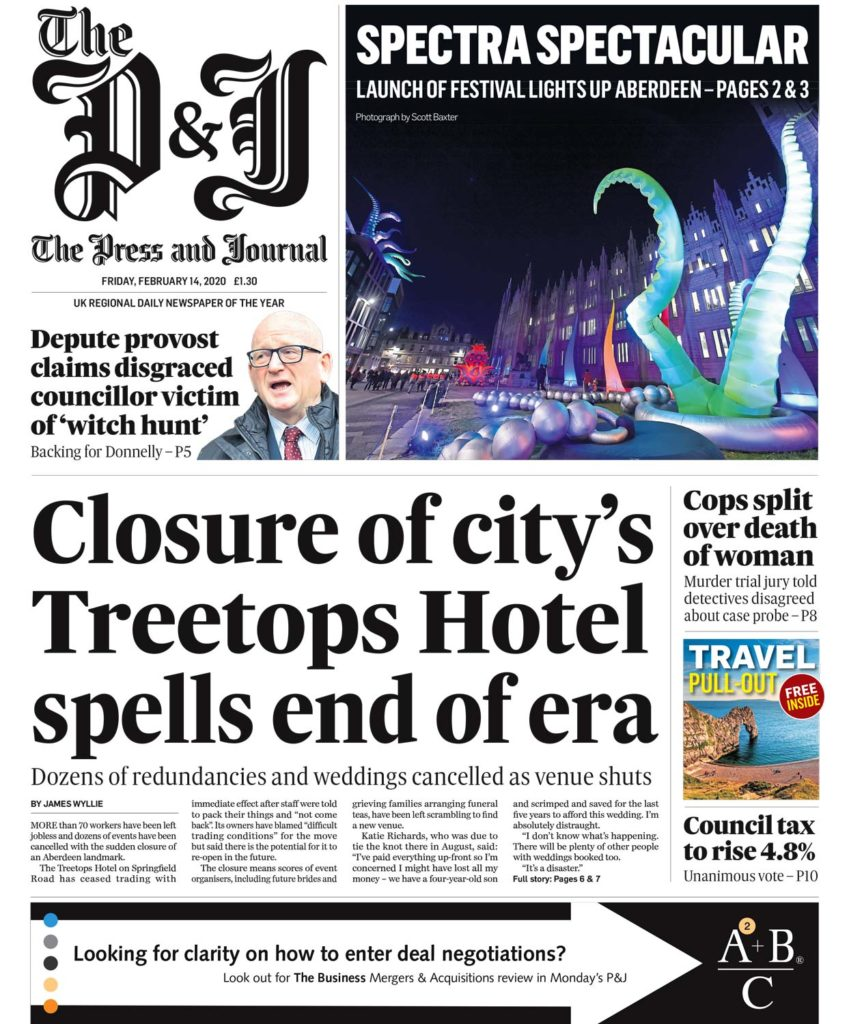 Front page picture on the Press and Journal from February 2020 showing Aberdeen Marischal College during the SPECTRA Light Festival with Tentacles lit up growing from the grass out front. Picture by Scott Cameron Baxter for Editorial and PR Photography