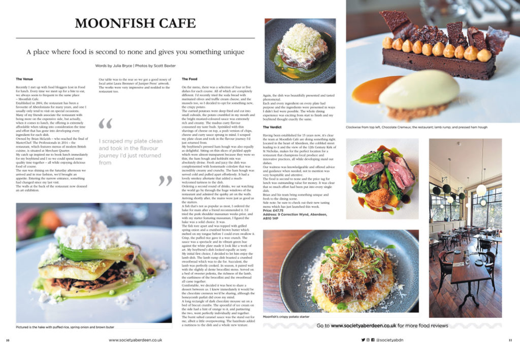 food and drink photography by Scott Cameron Baxter. Pictures shows five different dishes from seafood restaurant Moonfish Cafe in Aberdeen laid out in Society magazine feature.
