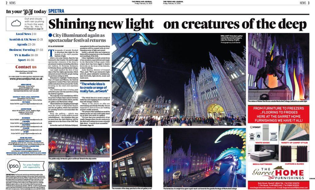 Various photographs from a press cutting of Aberdeens Marischal College during the SPECTRA Light Festival 2020 in Aberdeen. Showing Landmarks in Aberdeen lit up.