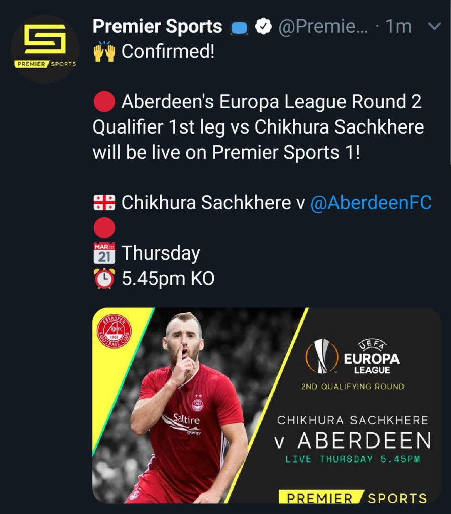 A screen grab from premier Sports showing Niall McGinn of Aberdeen celebrating a goal. Screengrab from Twitter Advertising upcoming Aberdeen FC match in EUROPA League. Picture by Scott Cameron Baxter
