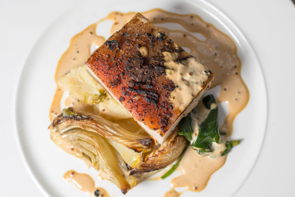 Food Photography Aberdeen by Scott Cameron Baxter. Picture shows pork on a white plate photographed top down.