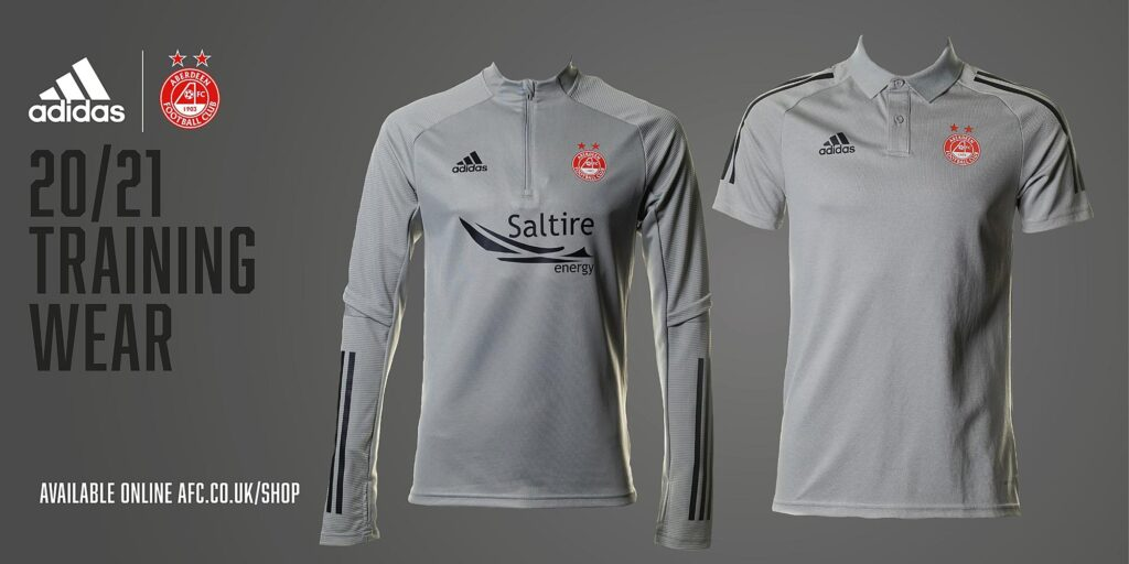 A graphic mockup of Aberdeen FC gray training wear kits side by side on a gray background - Scott Cameron Baxter Photography