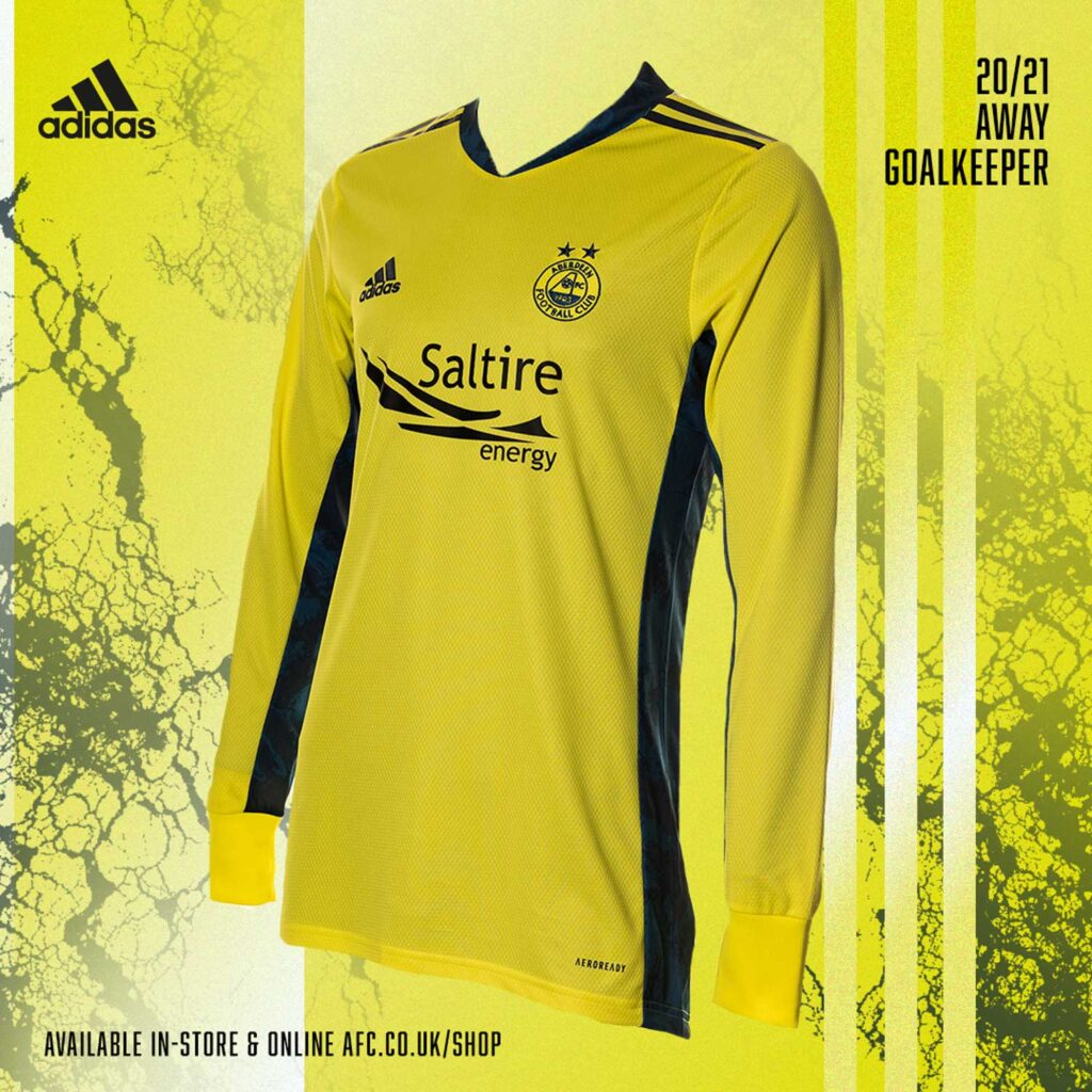A graphic mockup of Aberdeen FC Kits with a yellow goalkeeper shirt with a yellow background - Scott Cameron Baxter Photography