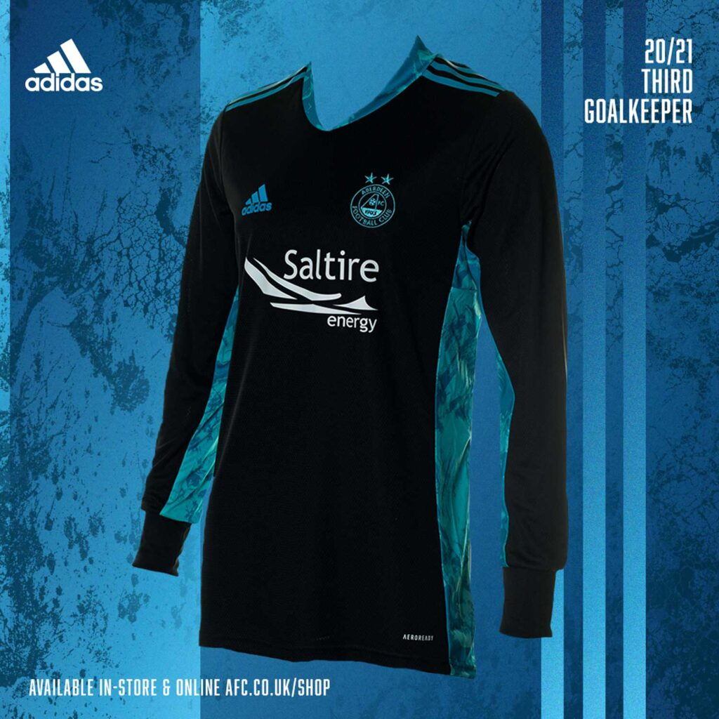 A graphic mockup of Aberdeen FC Kits with a black and blue goalkeeper shirt with a blue background - Scott Cameron Baxter Photography